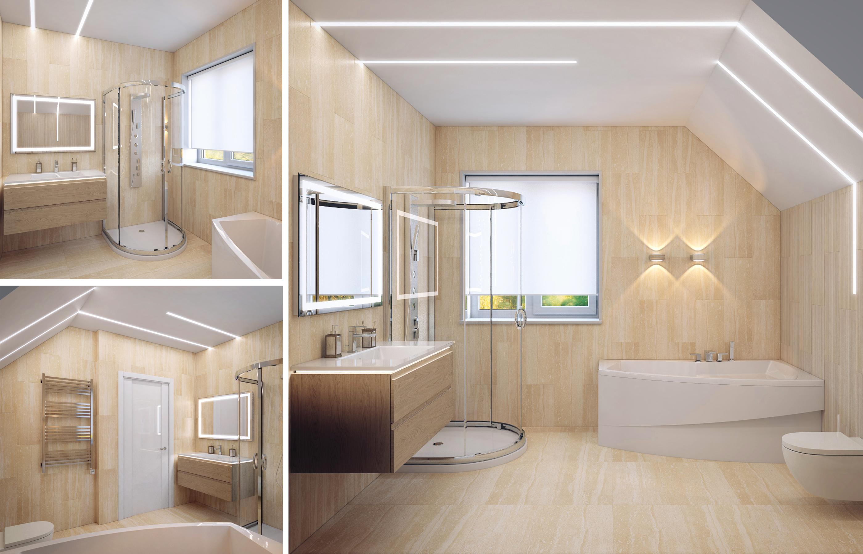 Дизайн интерьера ванной комнаты с мансардным потолком