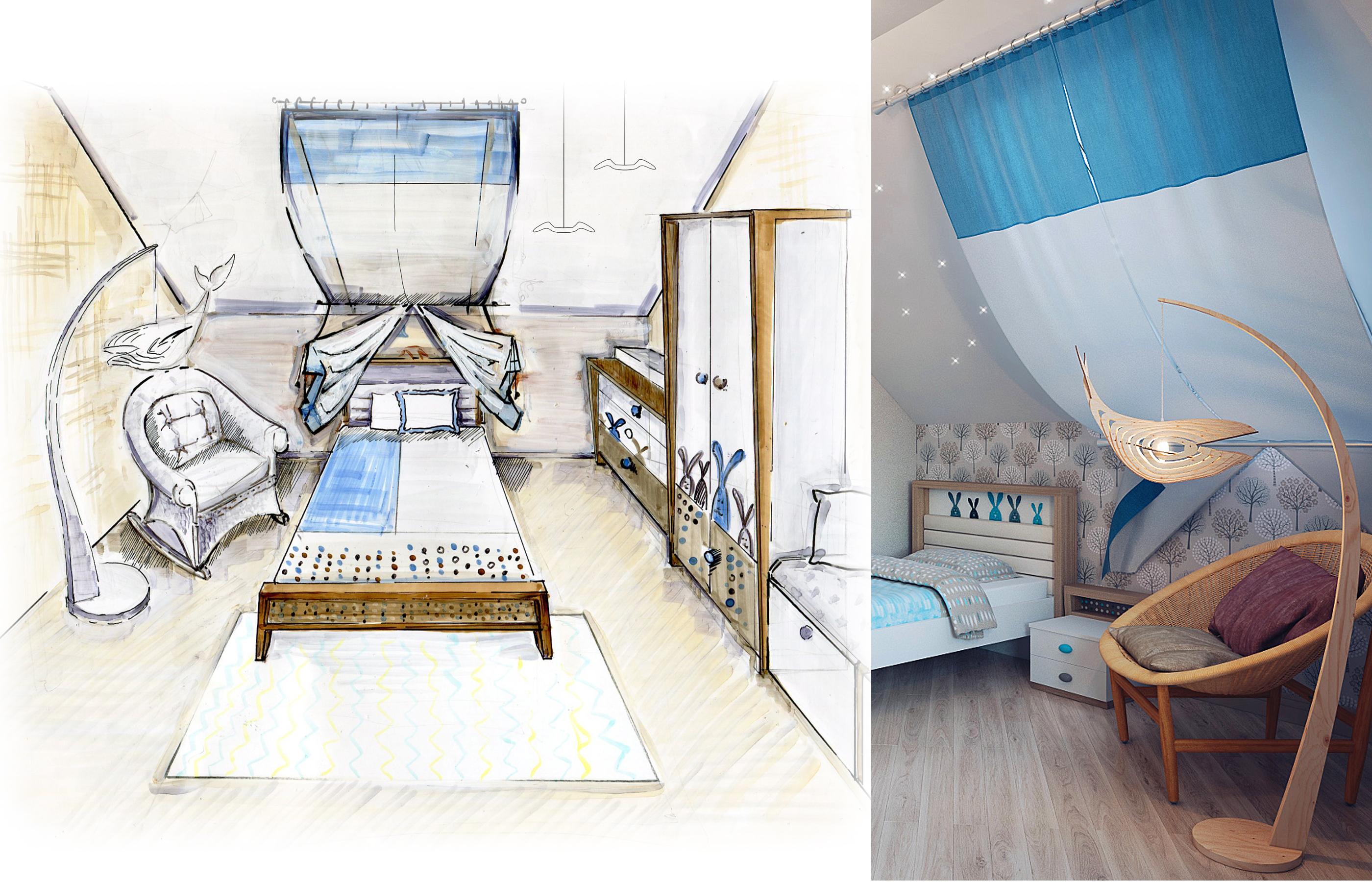 Дизайн интерьера детской комнаты
