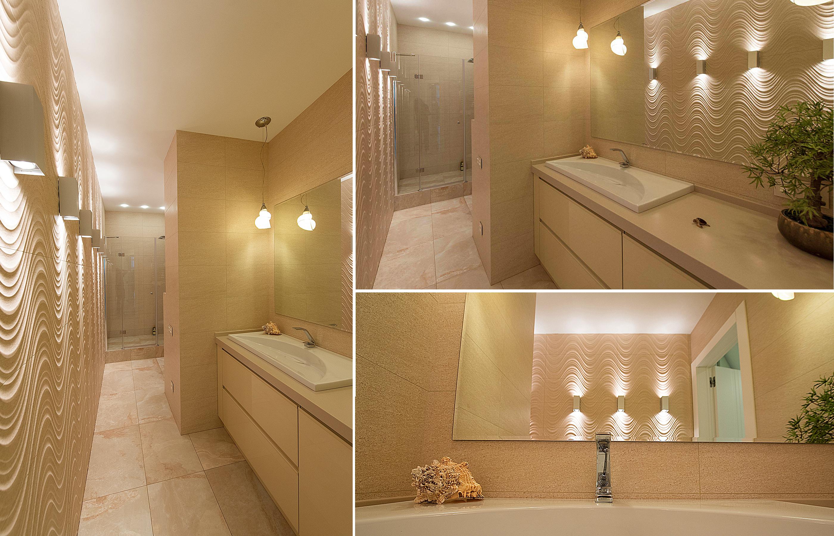 В интерьере ванной комнаты использована плитка из коллекции CRETA MARFIL от Porcelanosa
