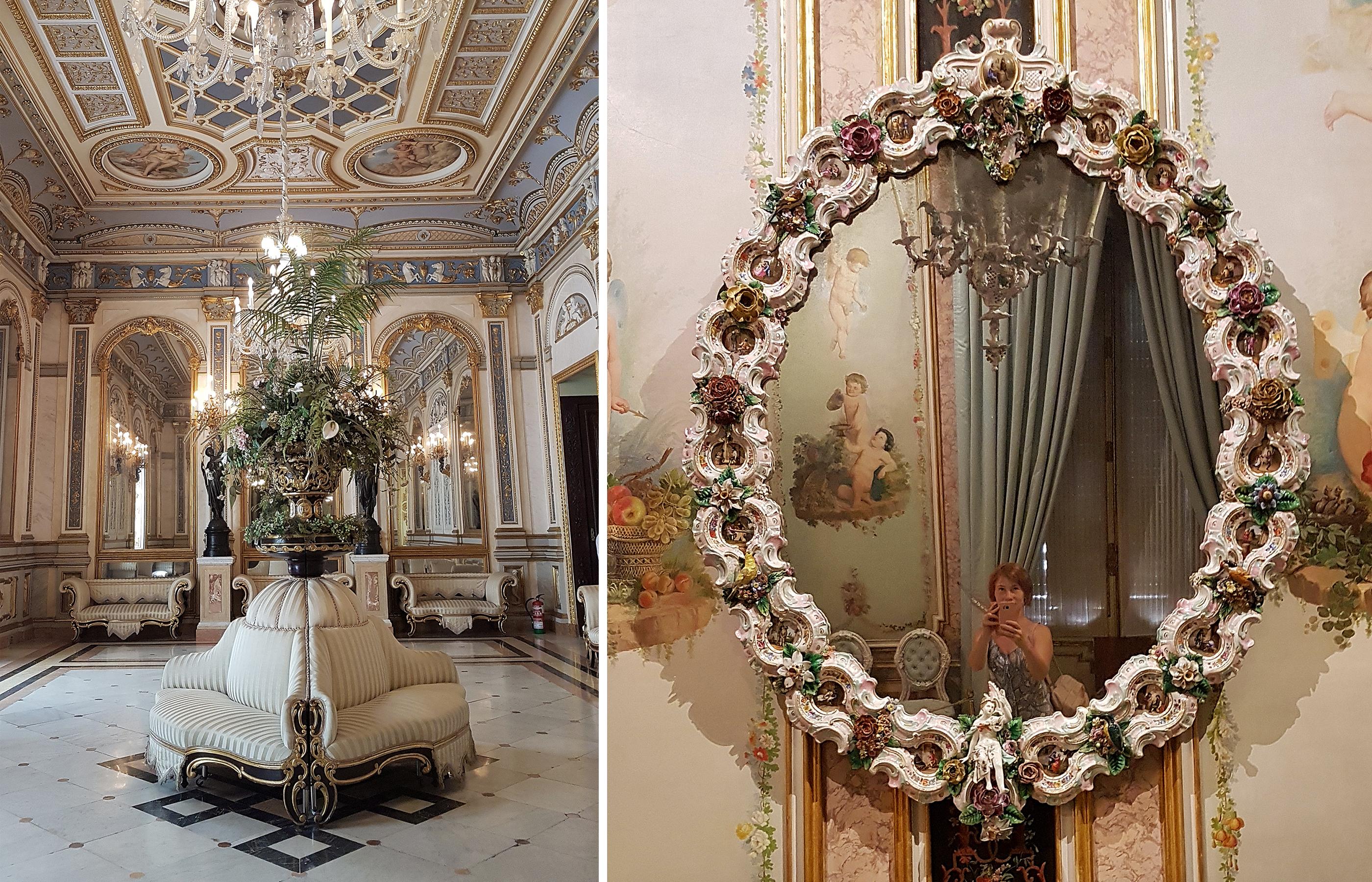 Зеркало в раме из фарфора. Музей Керамики в Валенсии