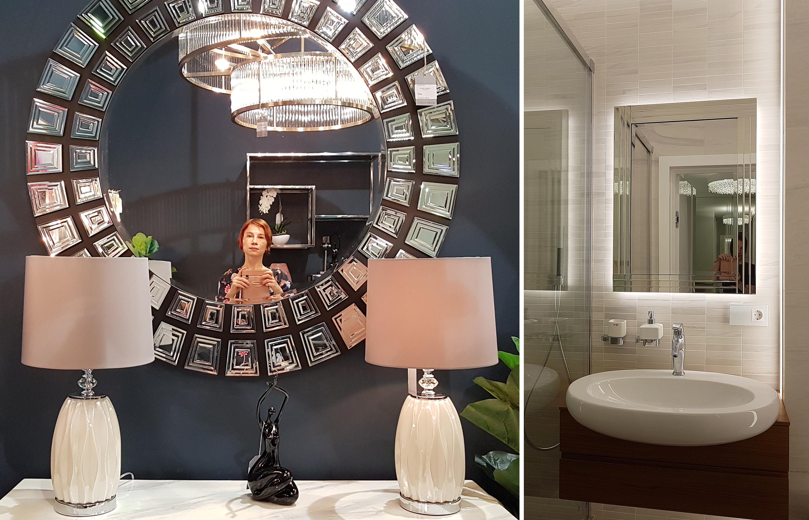 Зеркала, выполненные в венецианской технике, великолепно смотрятся и в современных интерьерах