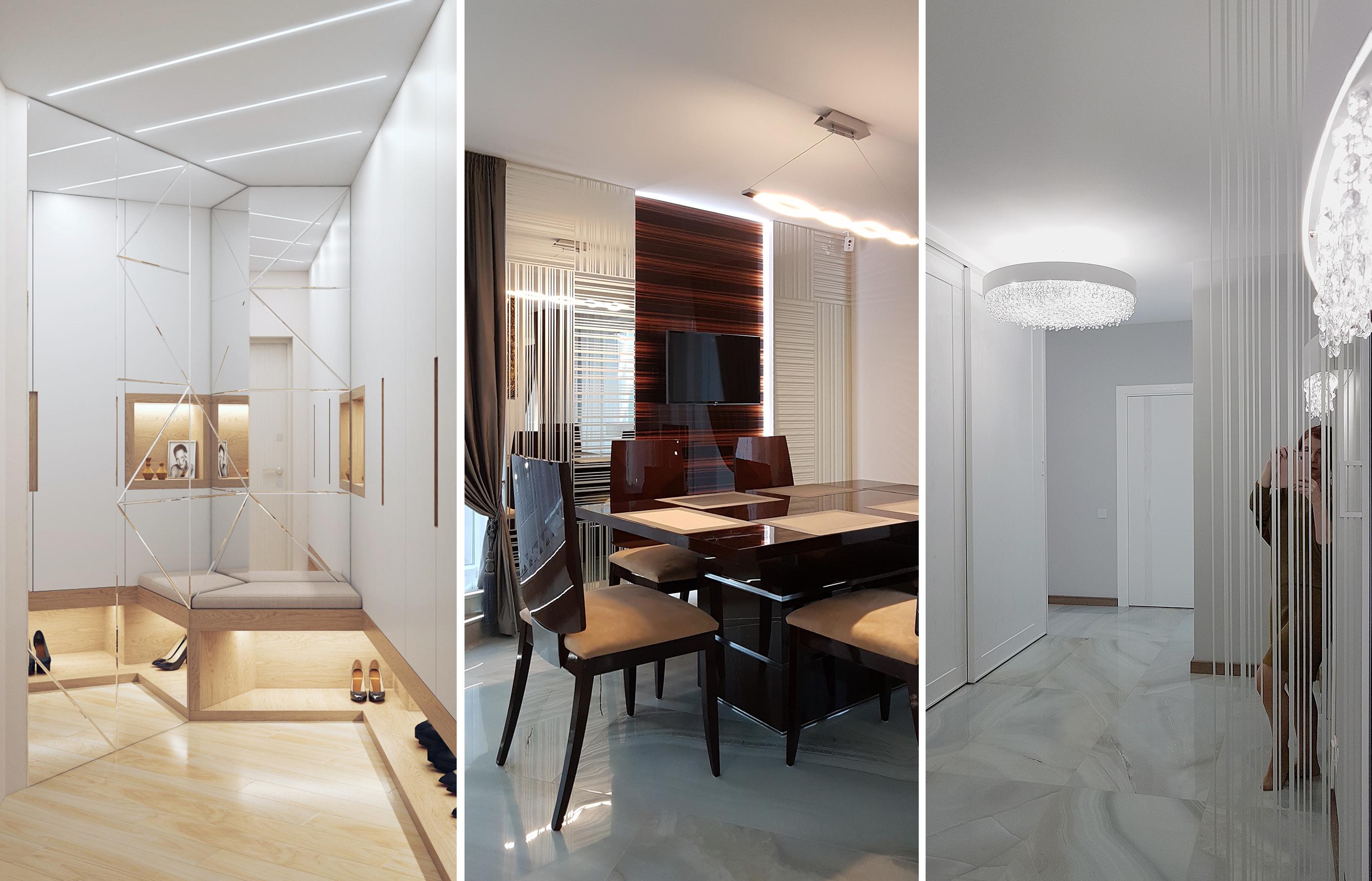 Зеркальные панно способны не только расширить пространство, но и визуально изменить геометрию помещения