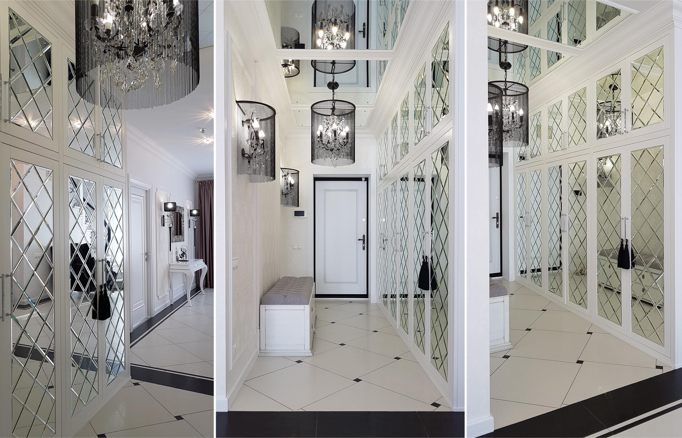 Зеркальные панно в интерьере холла