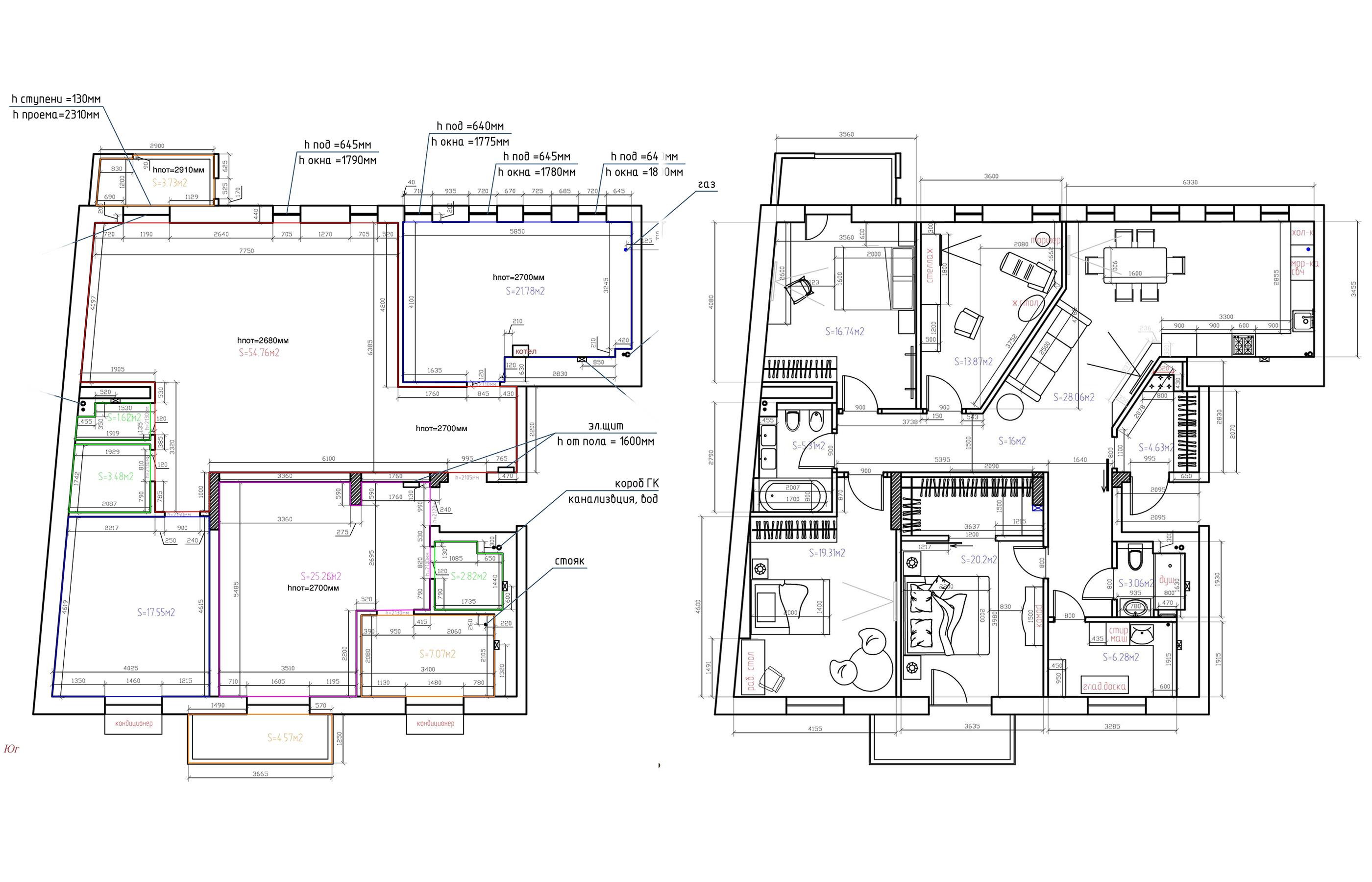 План квартиры до и после перепланировки