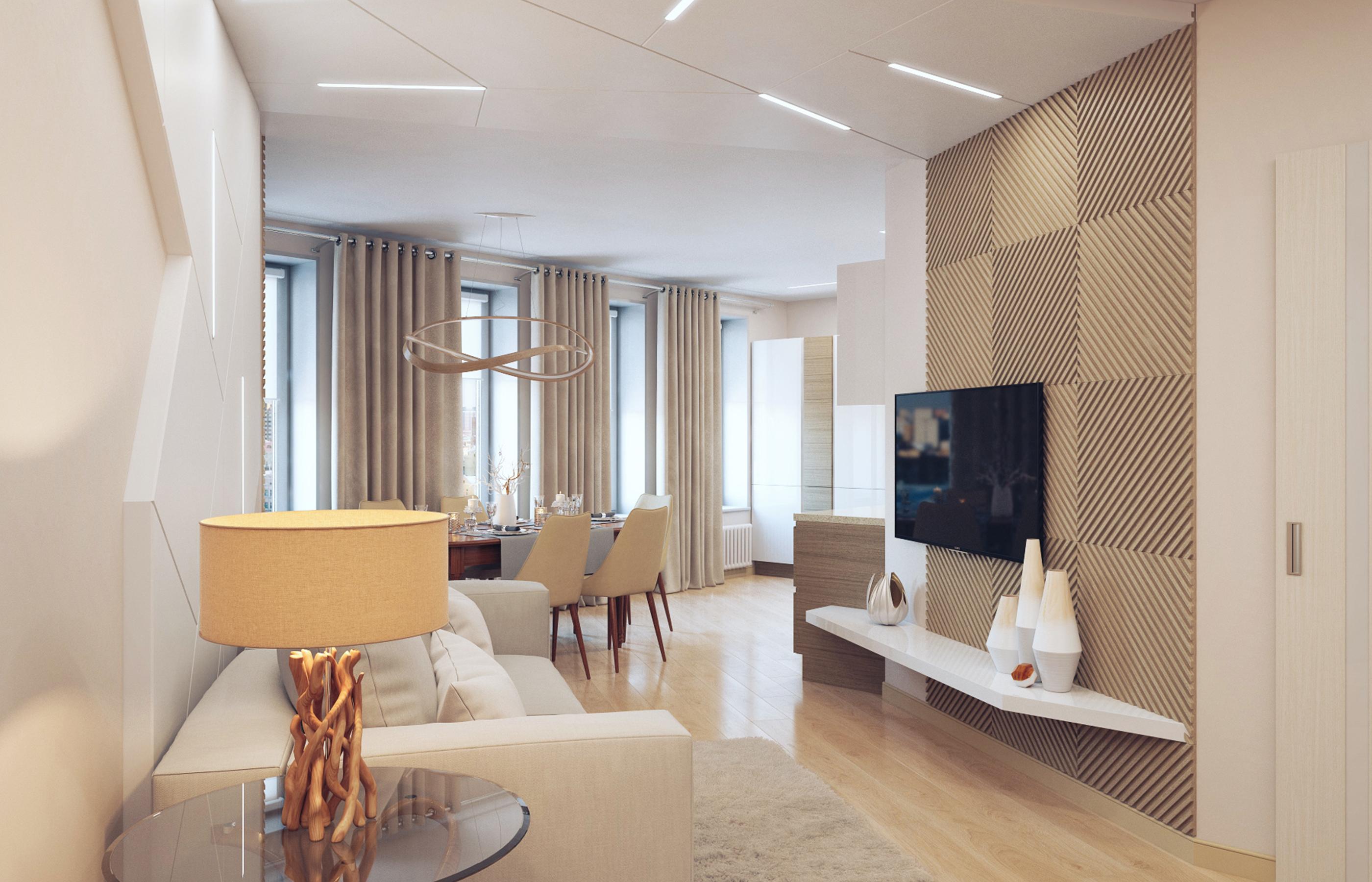 Гостиная является и функциональным, и смысловым центром всей квартиры