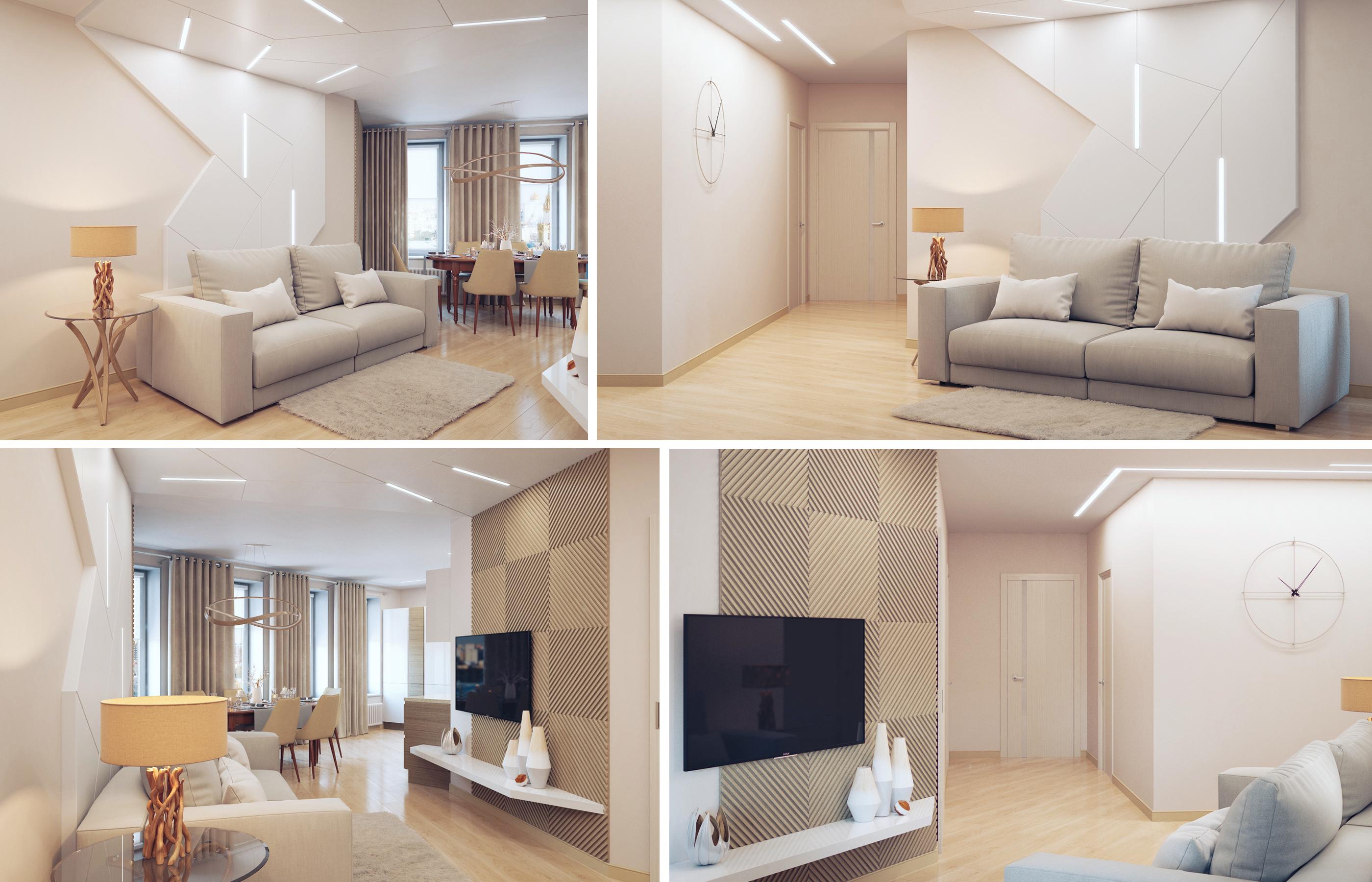 3Д панели в интерьере гостиной