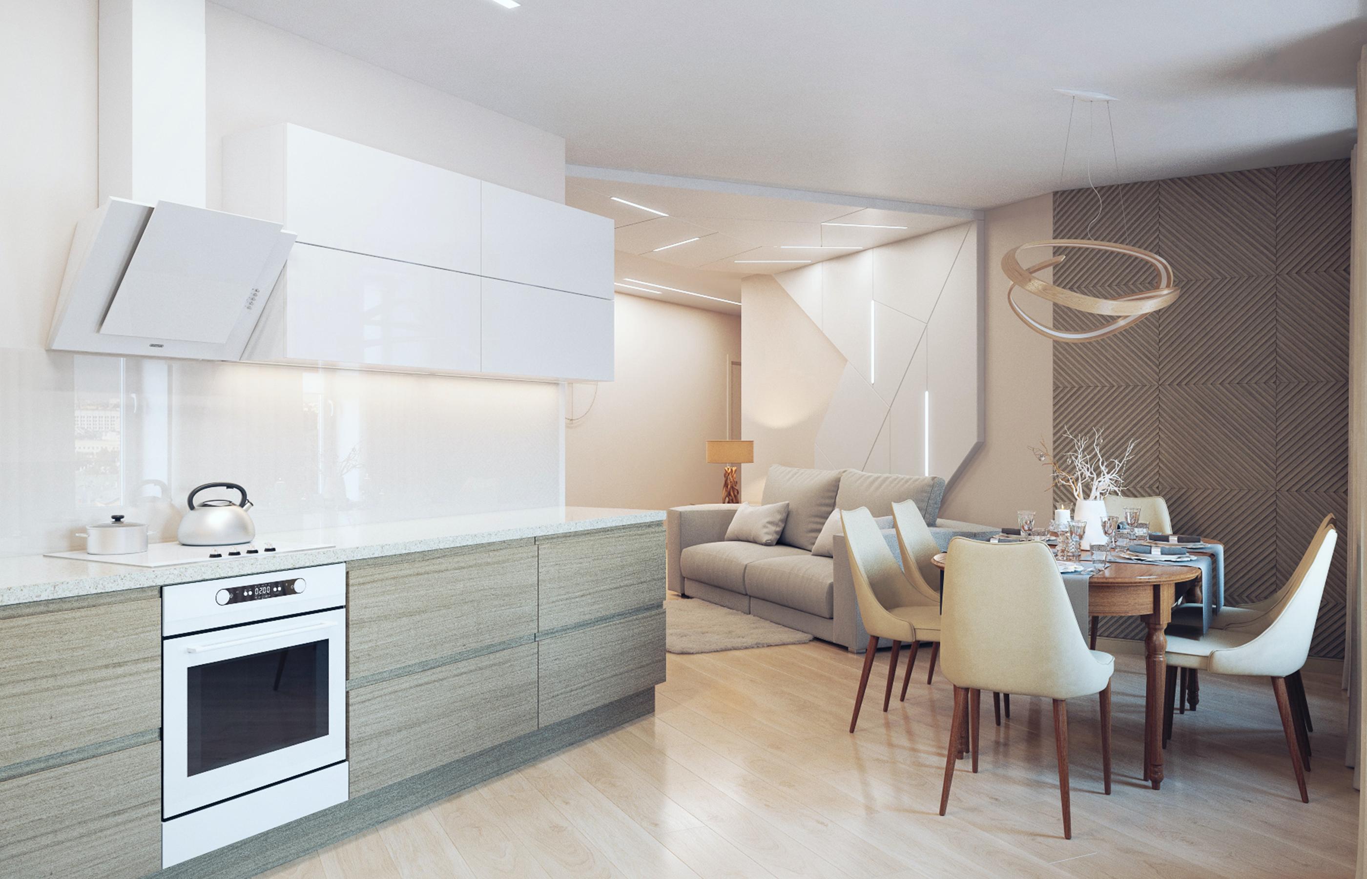 Минималистичная кухня хорошо дополняет сложный интерьер гостиной