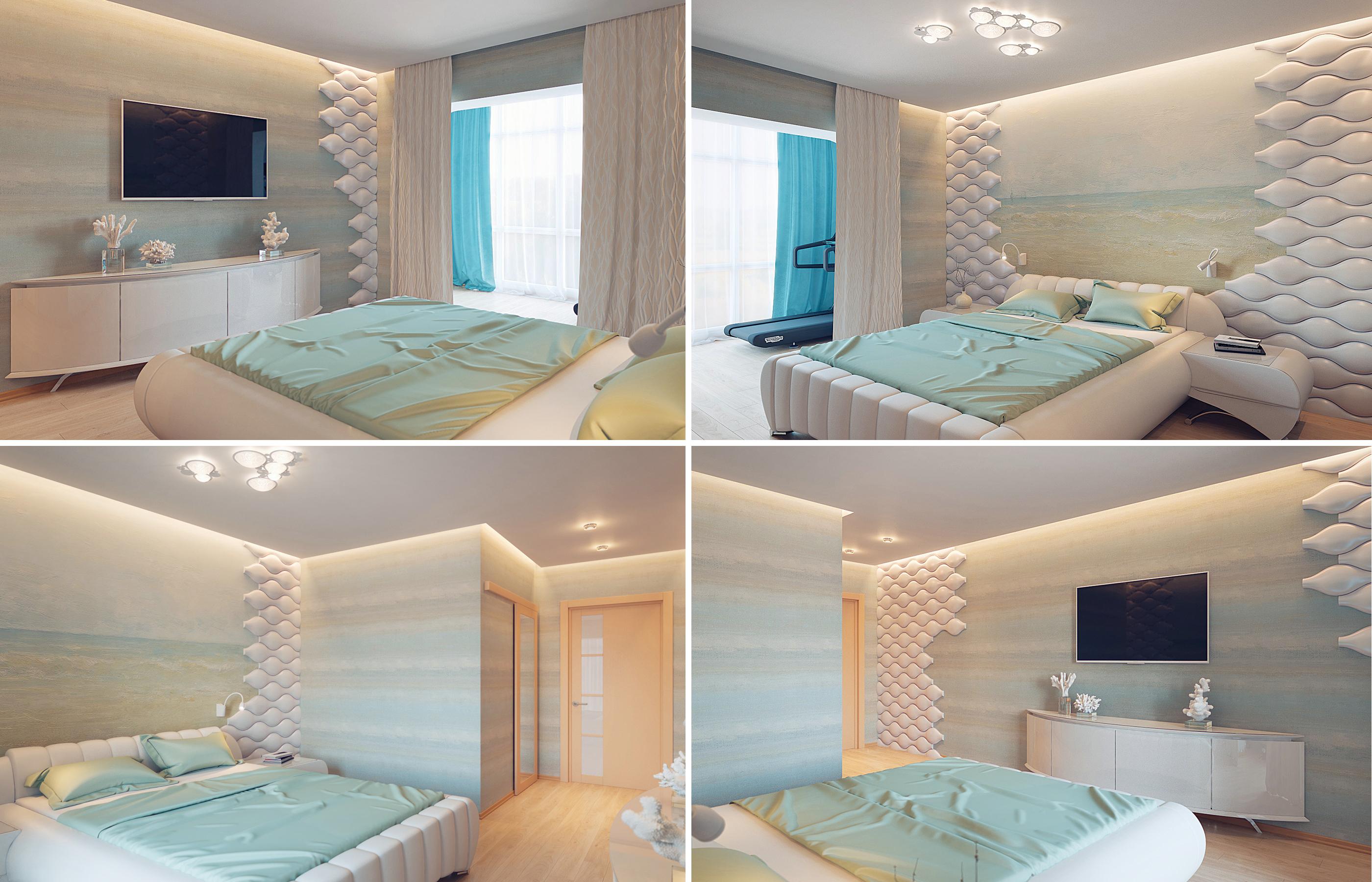 Проект дизайна интерьера спальни в песочно-голубых тонах