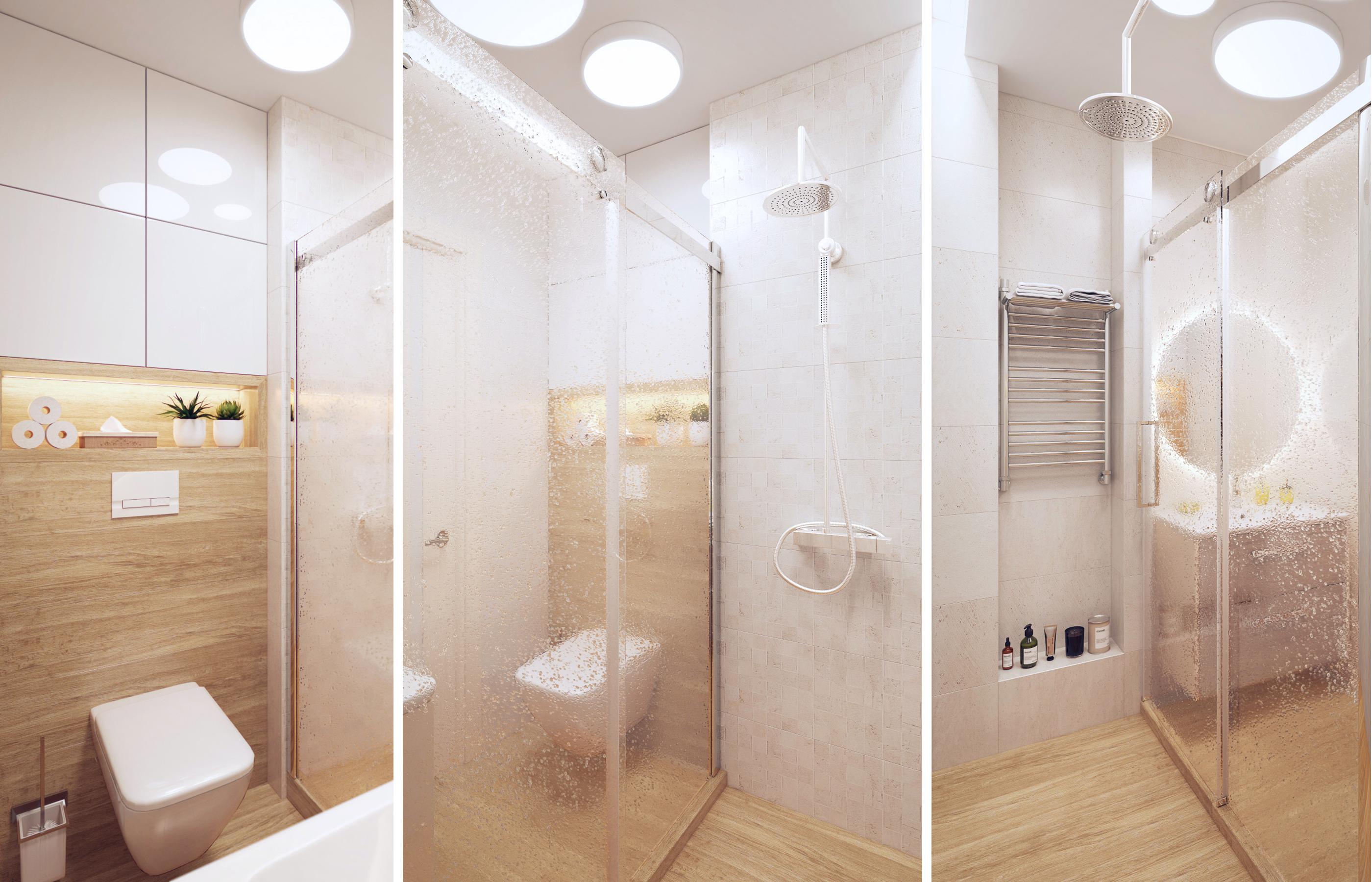 В санузле шкафы прячутся за квадратными декоративными панелями
