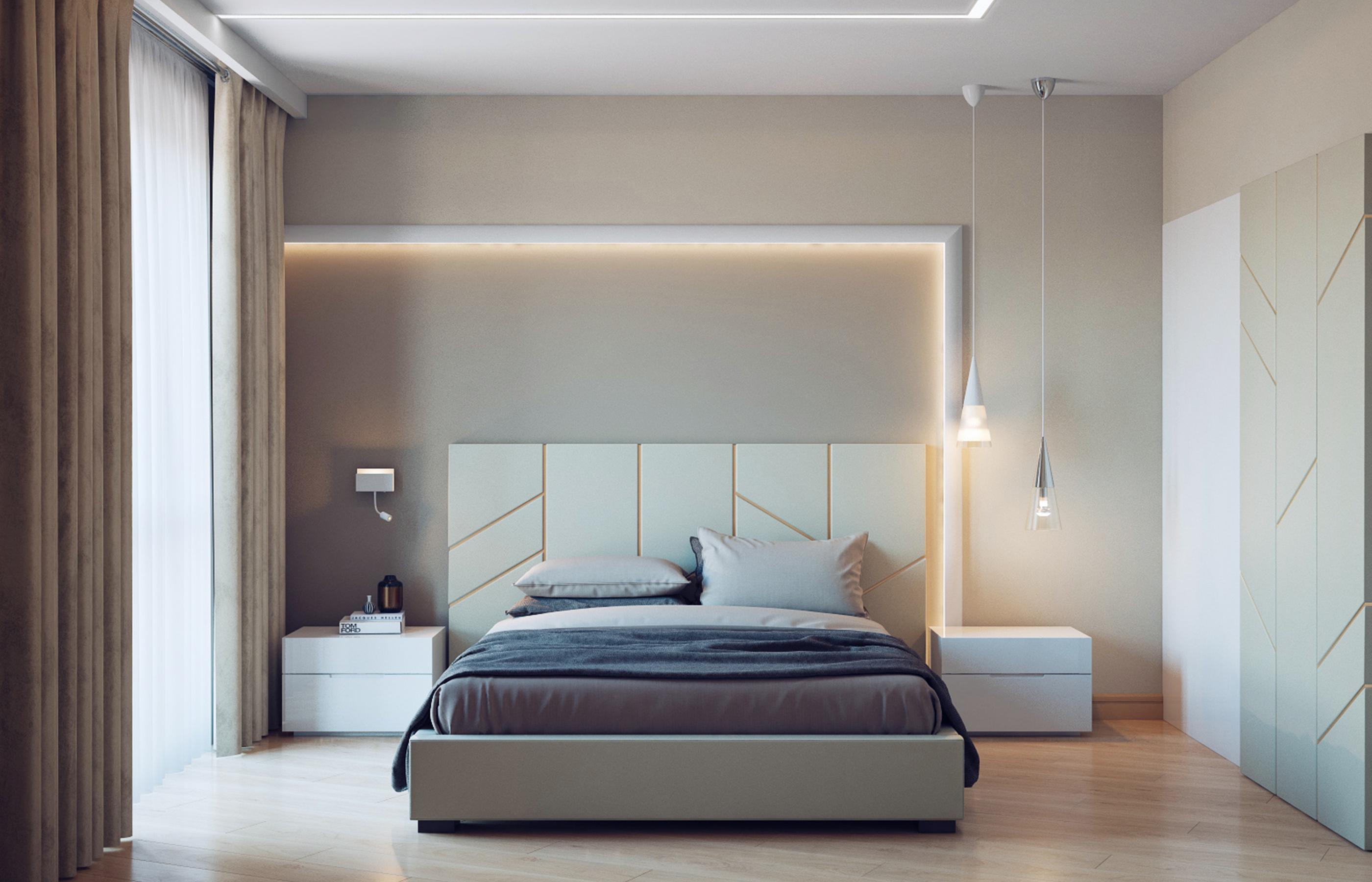Интерьер спальни - мягкие кофейные тона и приглушенное освещение