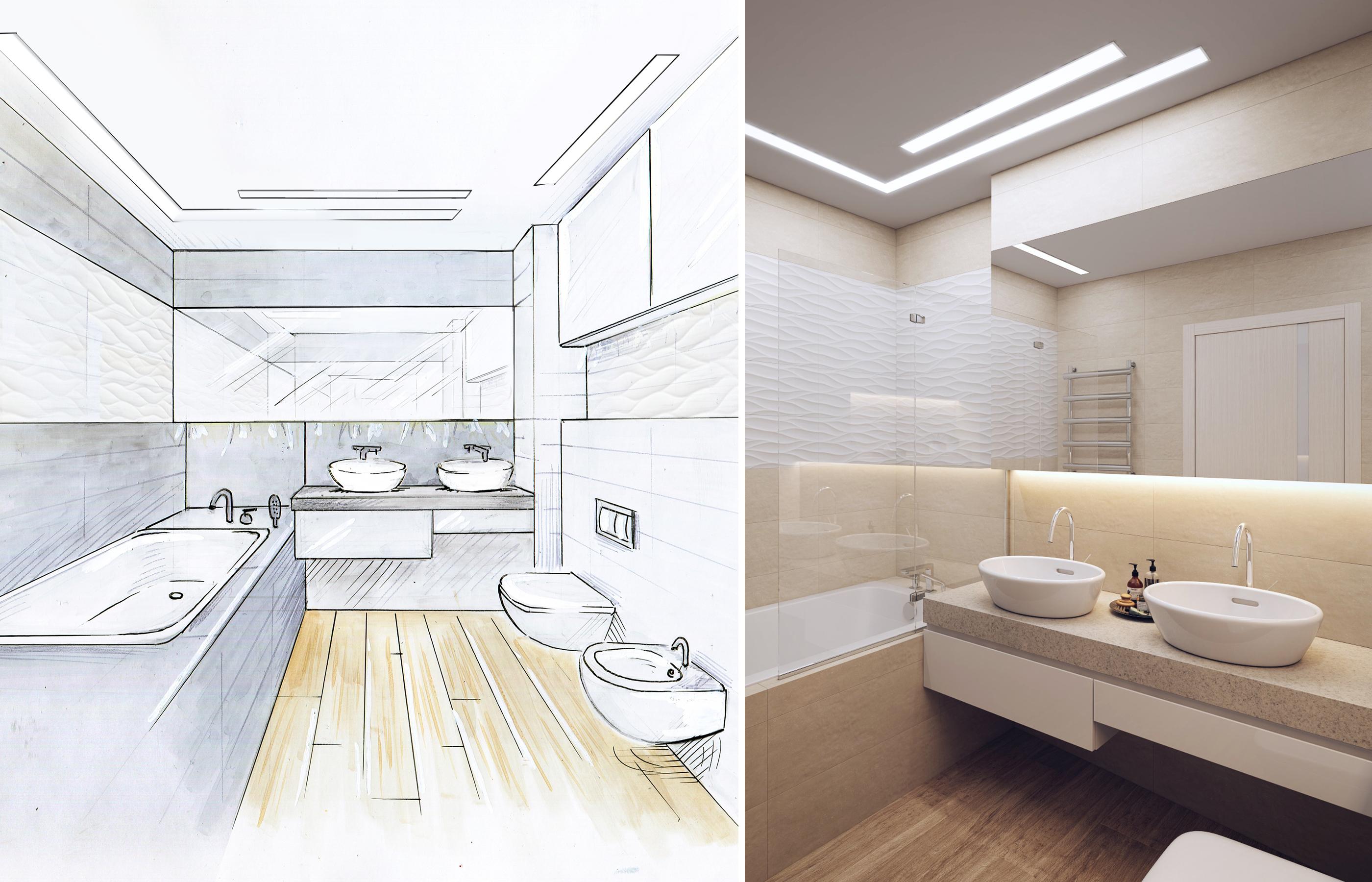 Зеркало во всю стену создает иллюзию увеличенного пространства ванной комнаты