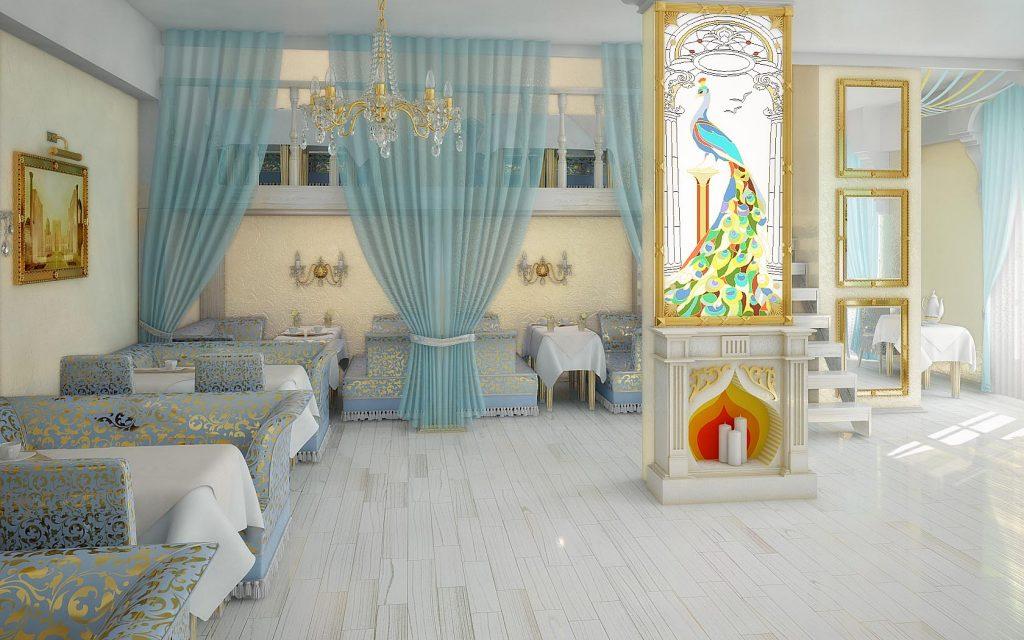 Дизайн интерьера банкетного зала в бело-голубых тонах