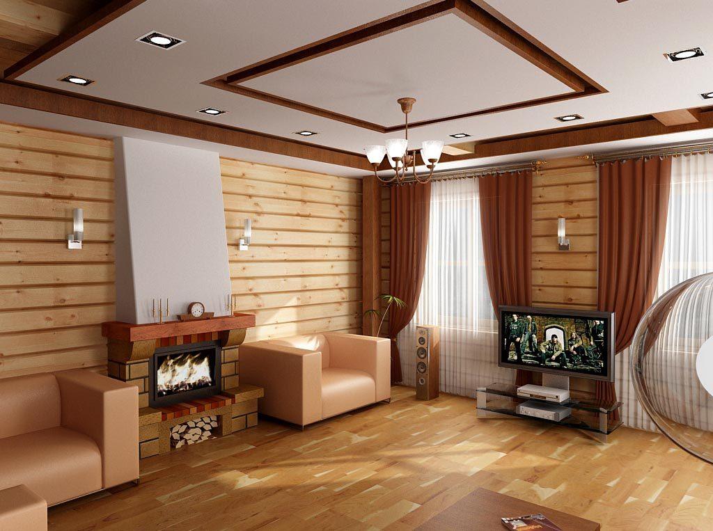 Дизайн интерьера гостиной в деревянном доме