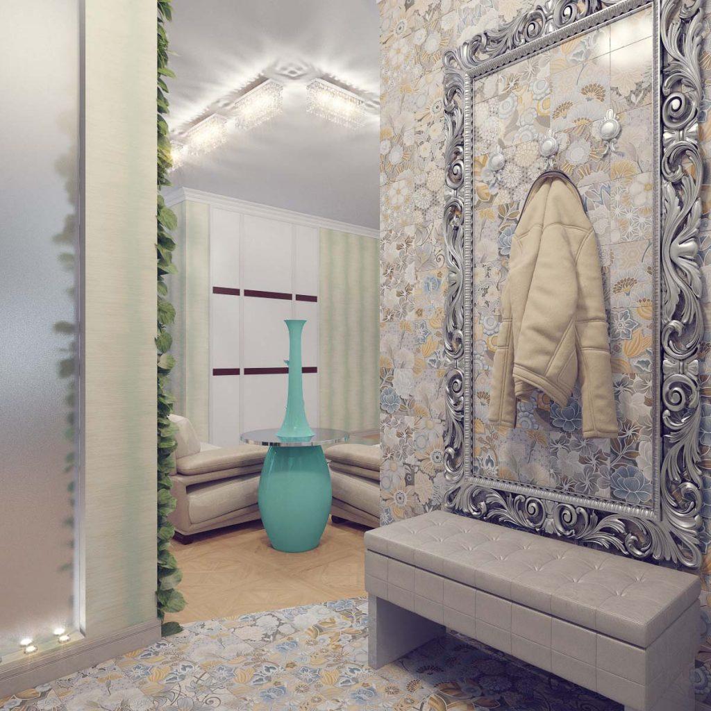 Стена в прихожей отделана керамической плиткой с цветочным принтом