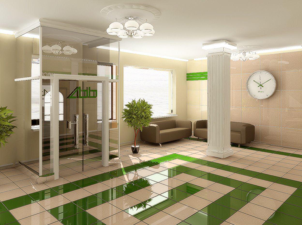 Дизайн интерьера холла отделения банка