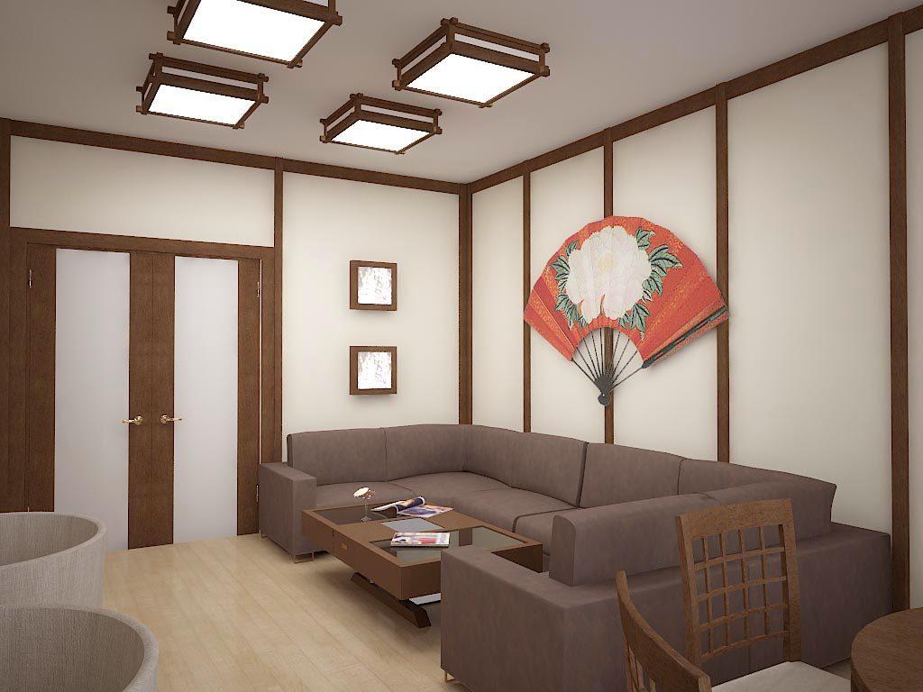 Дизайн интерьера гостиной в японском стиле