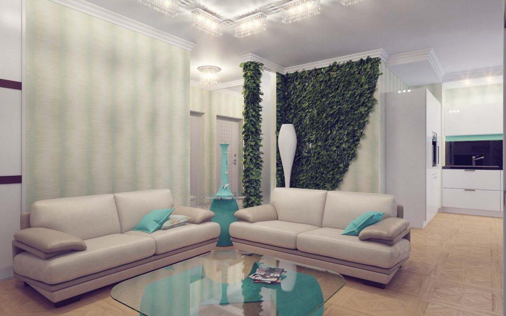 Дизайн интерьера Бирюзовой гостиной