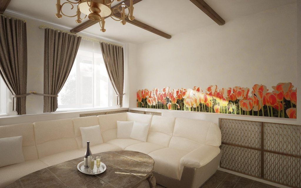 Дизайн интерьера столовой с цветочным декором