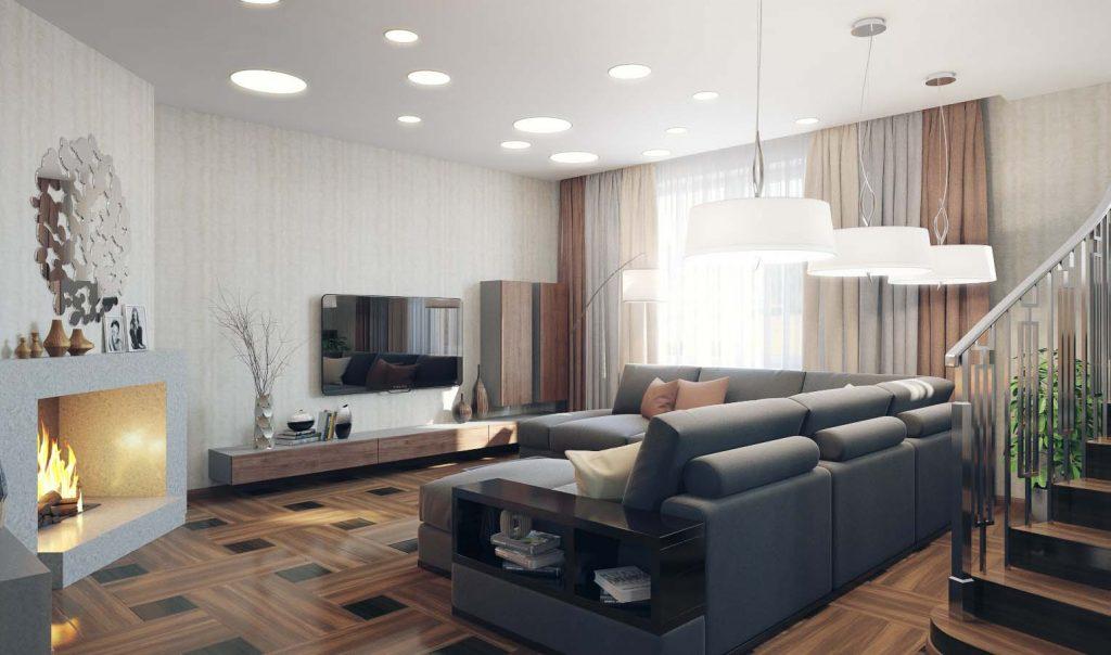 Интерьер гостиной с дровяным камином