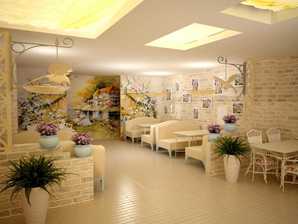 Дизайн весеннего интерьера в ресторане