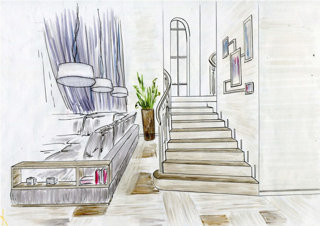 Эскиз дизайна интерьера гостиной с лестницей на второй этаж