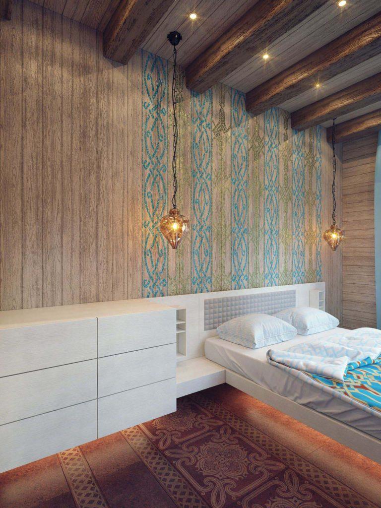 Гостевая спальня декорирована восточным орнаментом