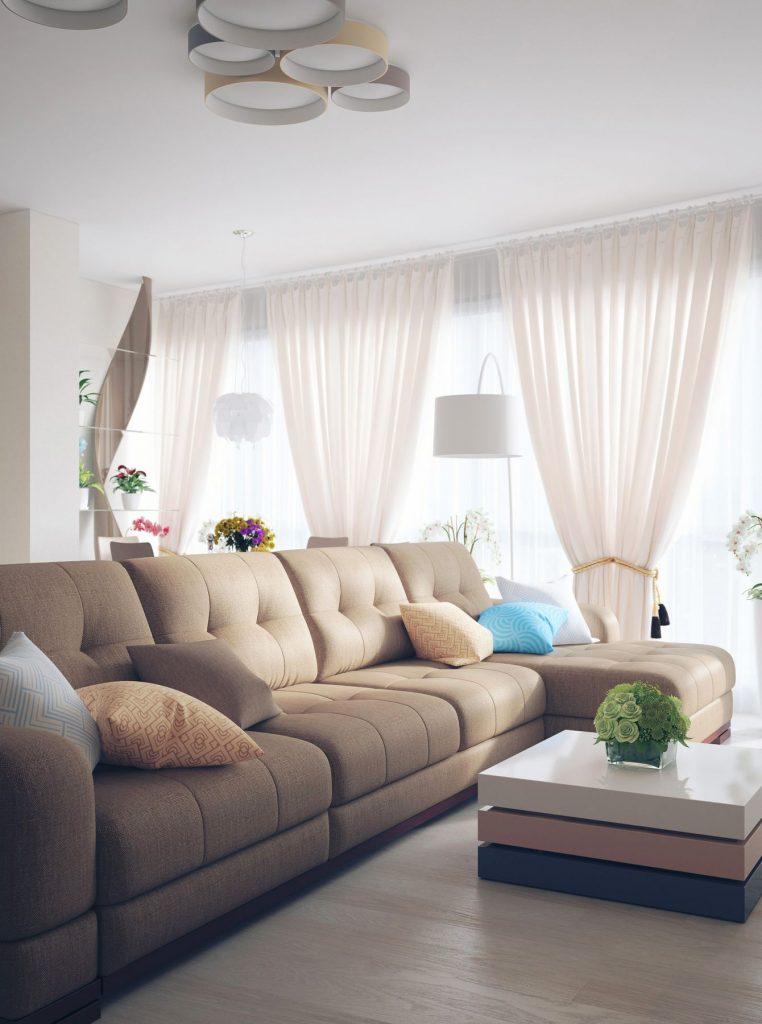Дизайн интерьера кухни-гостиной в квартире, расположенной в ЖК