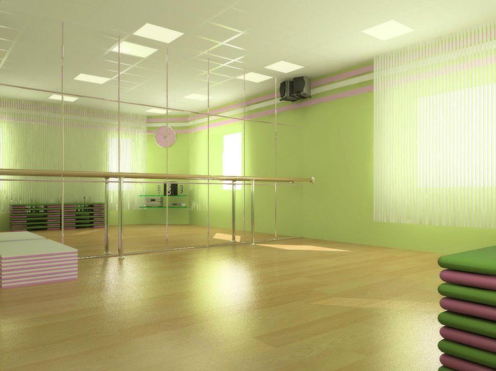 Дизайн интерьера зала групповых занятий в фитнес центре