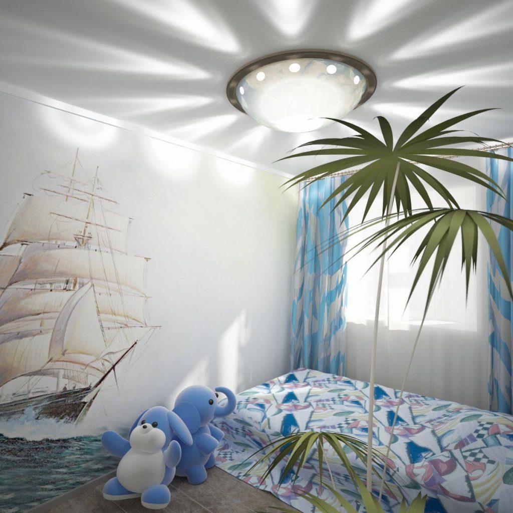 Дизайн интерьера детской комнаты с росписью на стене