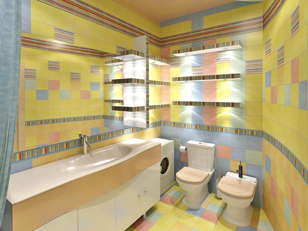 Цветной дизайн ванной комнаты