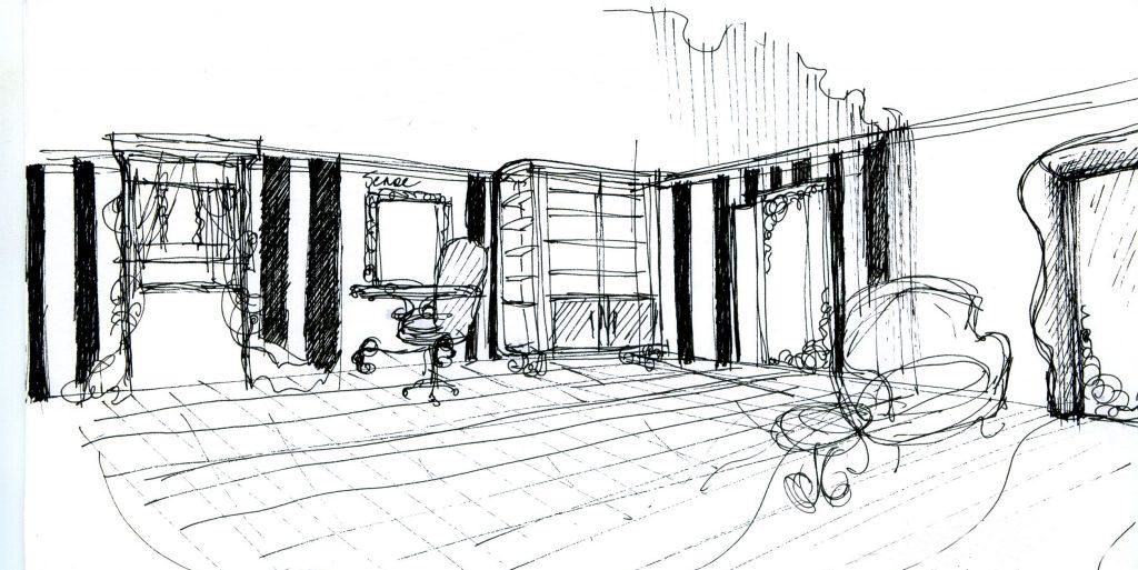 Рисунок интерьера зала в салоне красоты