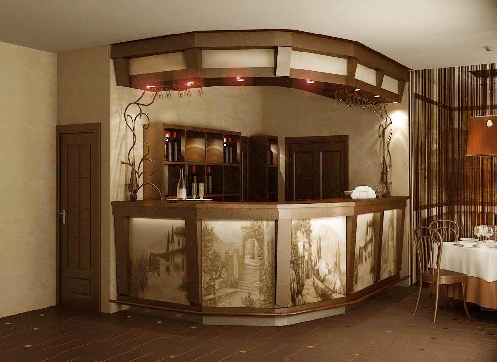Дизайн барной стойки с фотопечатью на фасаде
