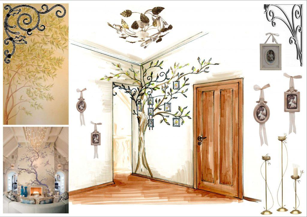 Стены холла второго этажа задекорированы росписью и декоративными коваными веточками дерева