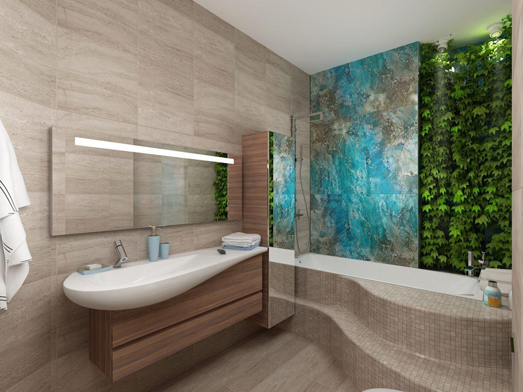 Стена в ванной комнате отделана уникальным керамогранитом Mirage Privilege, который невероятно точно имитирует текстуру синего Лабродарита