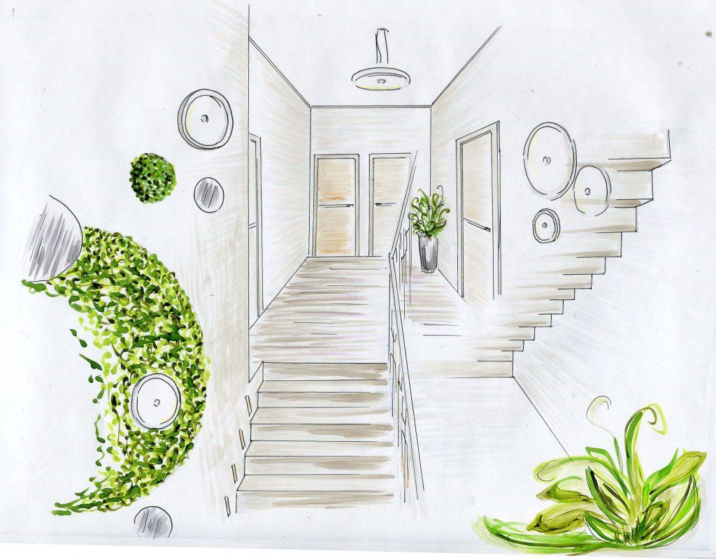 Эскиз дизайна интерьера лестничного холла второго этажа