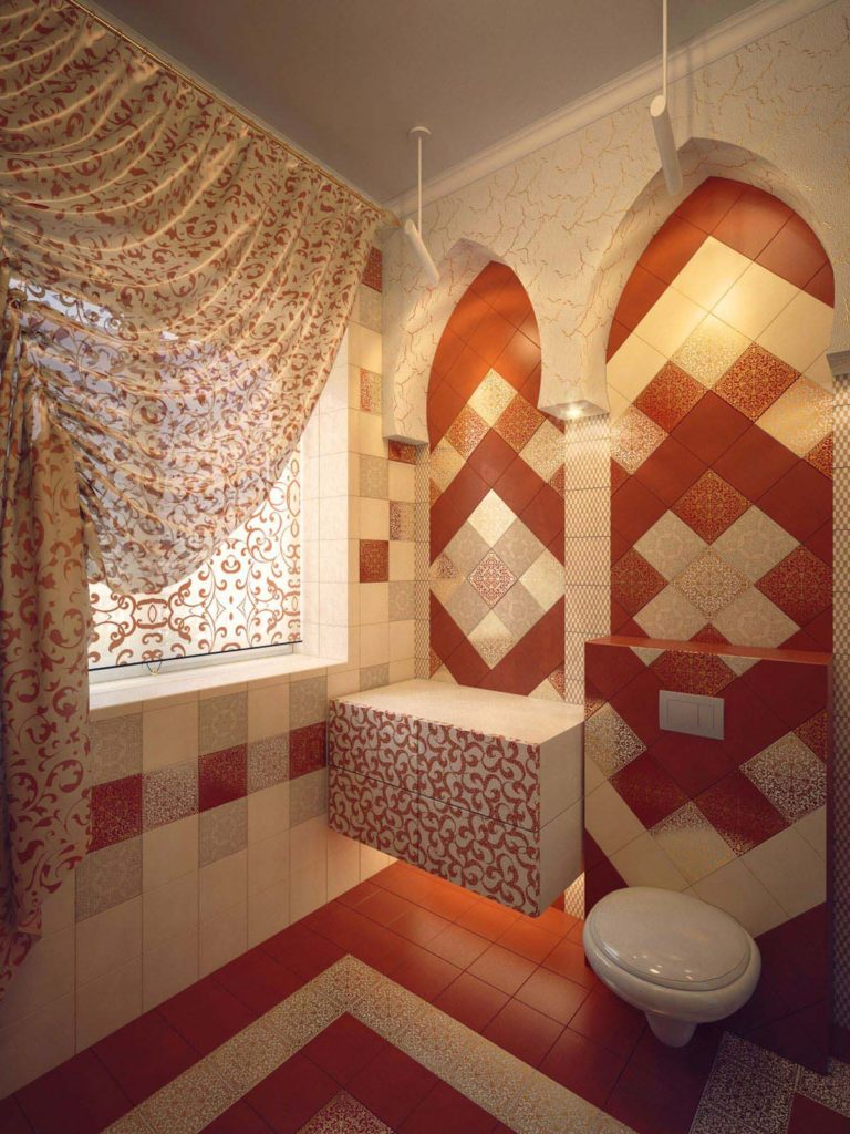 Дизайн интерьера ванной комнаты в восточном стиле