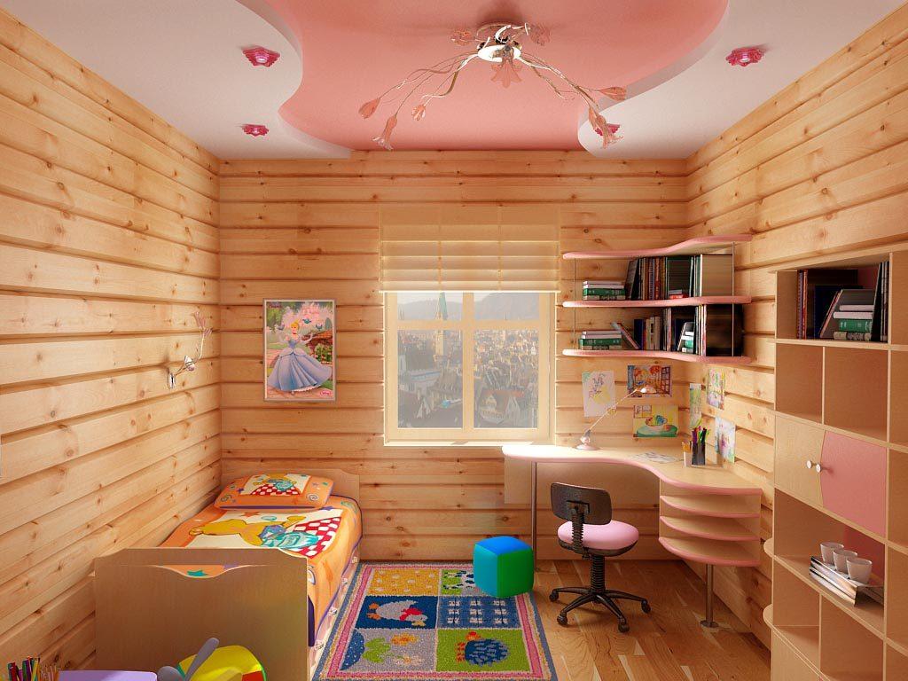 Дизайн интерьера детской в деревянном доме