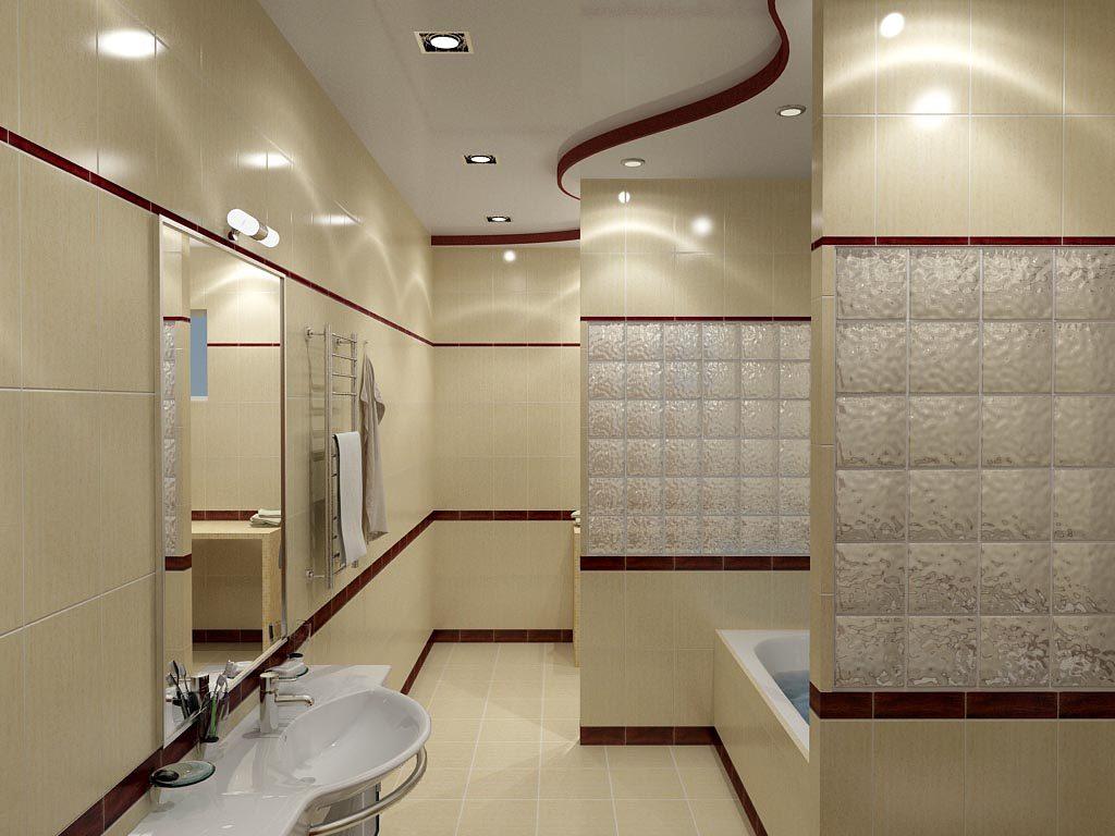 Дизайн интерьера ванной комнаты с зонирующими перегородками