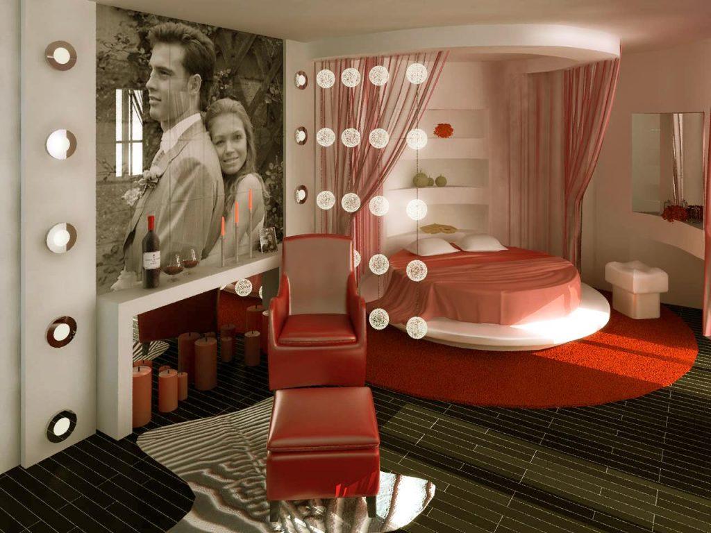 Дизайн интерьера спальни с круглой кроватью