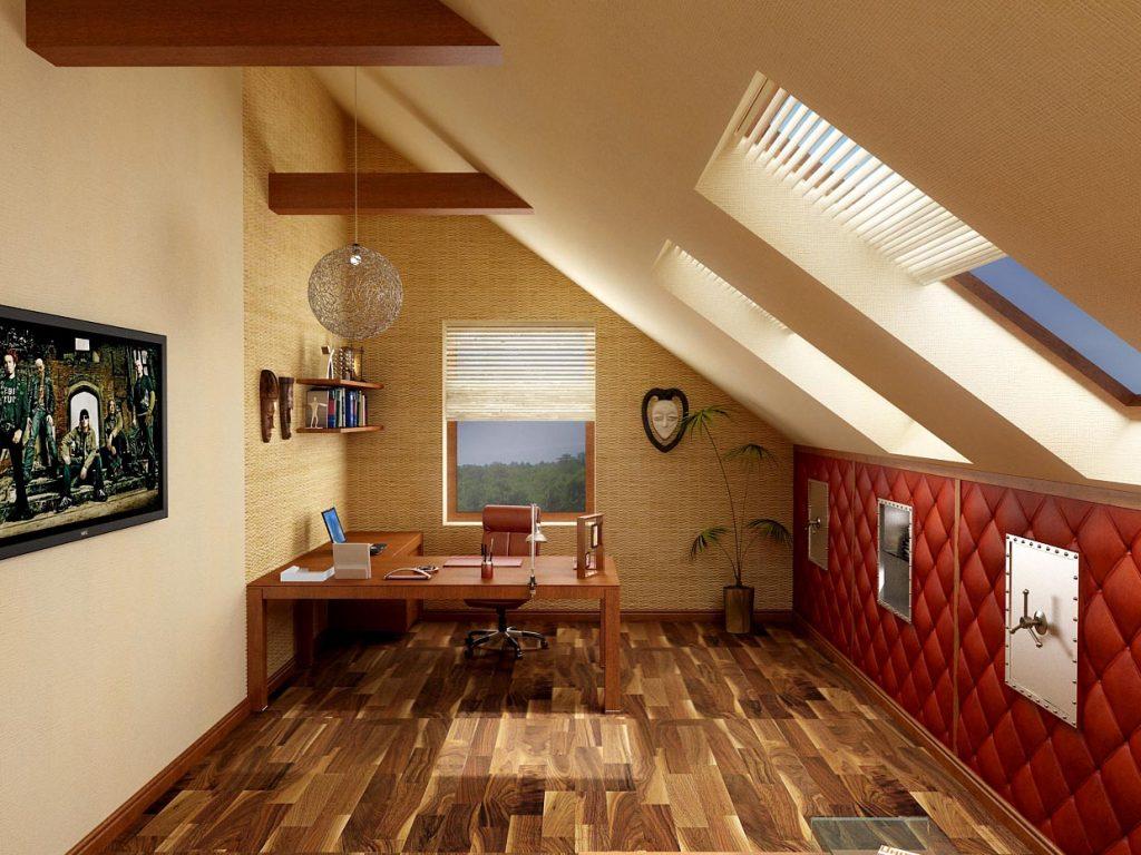 Дизайн интерьера рабочего кабинета на мансарде