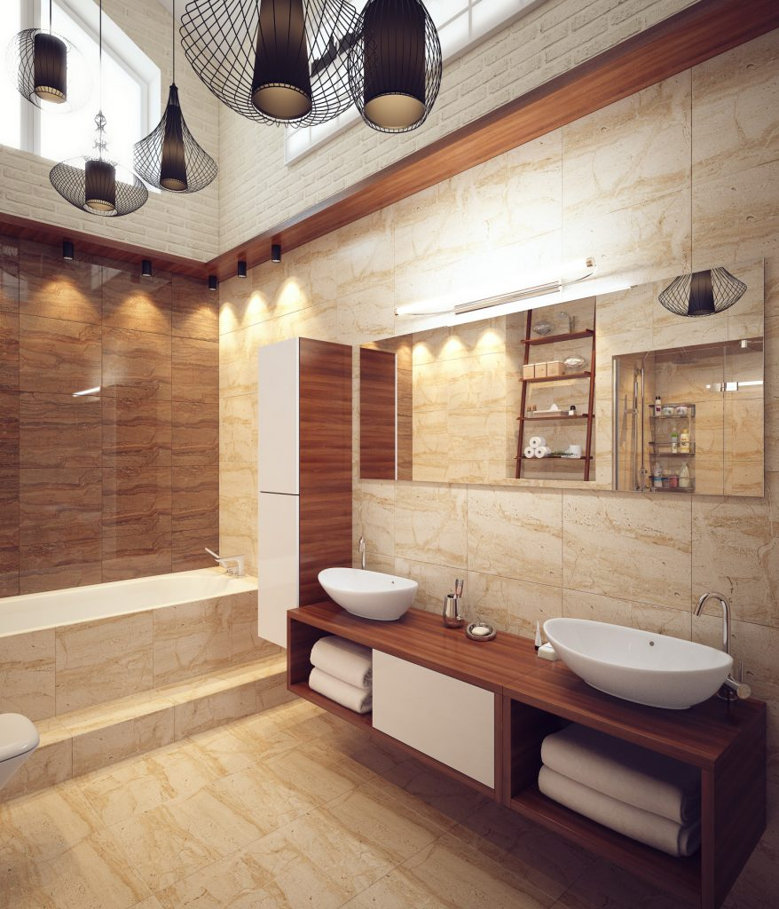 Дизайн интерьера ванной комнаты в теплых тонах