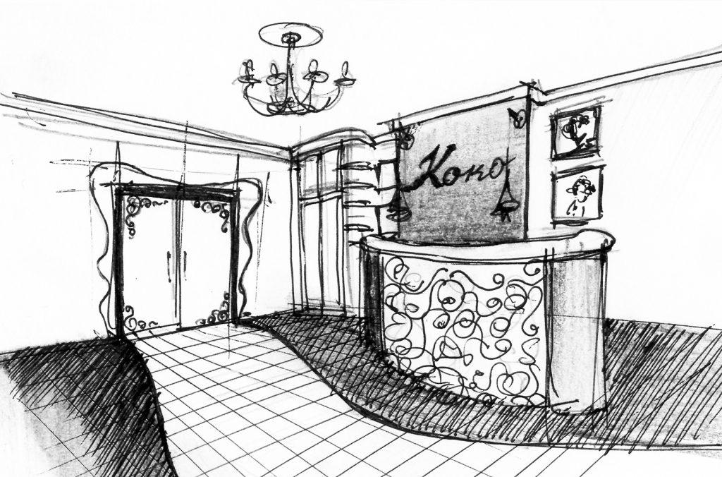 Набросок дизайна интерьера холла в салоне красоты