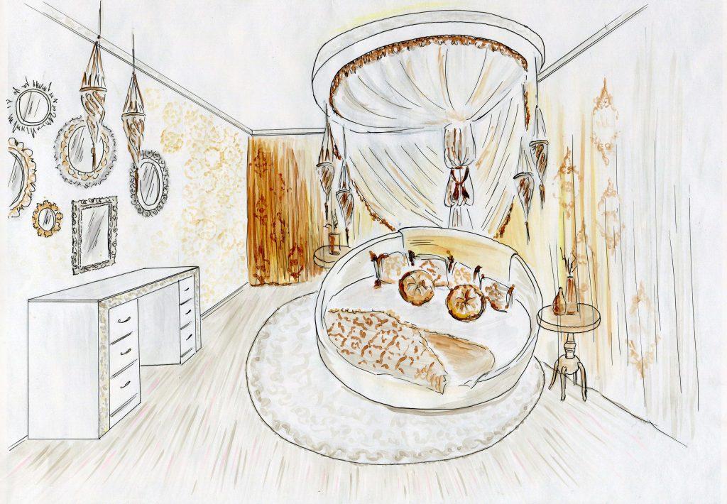 Эскиз дизайна интерьера восточной спальни
