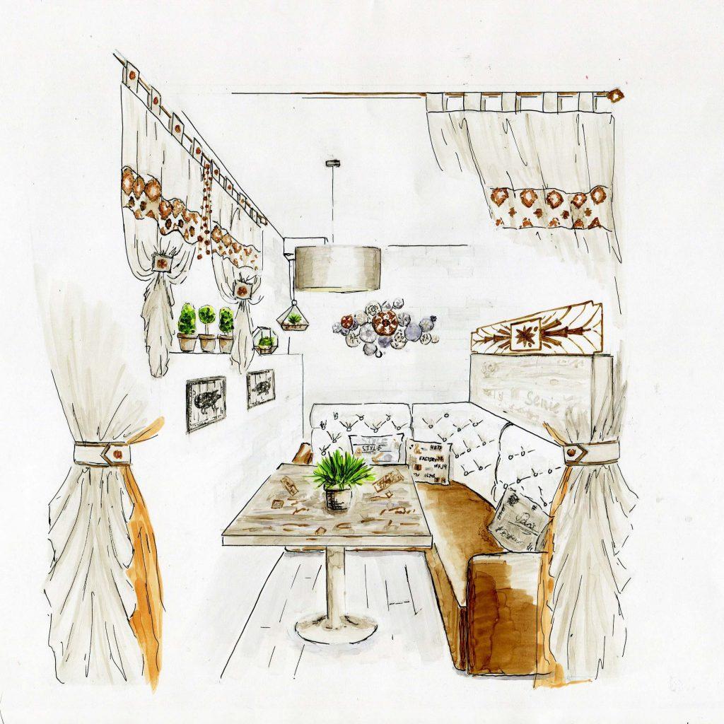 Эскиз интерьера кафе выполненный в технике ручной графики