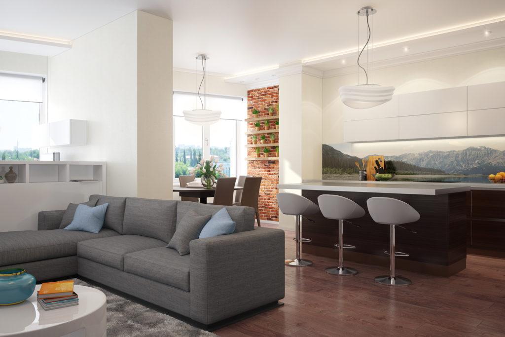Дизайн интерьера гостиной объединенной с кухней