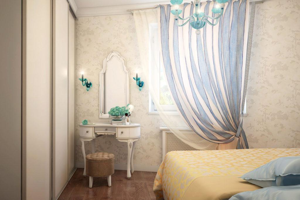 Дизайн интерьера спальни в голубых тонах