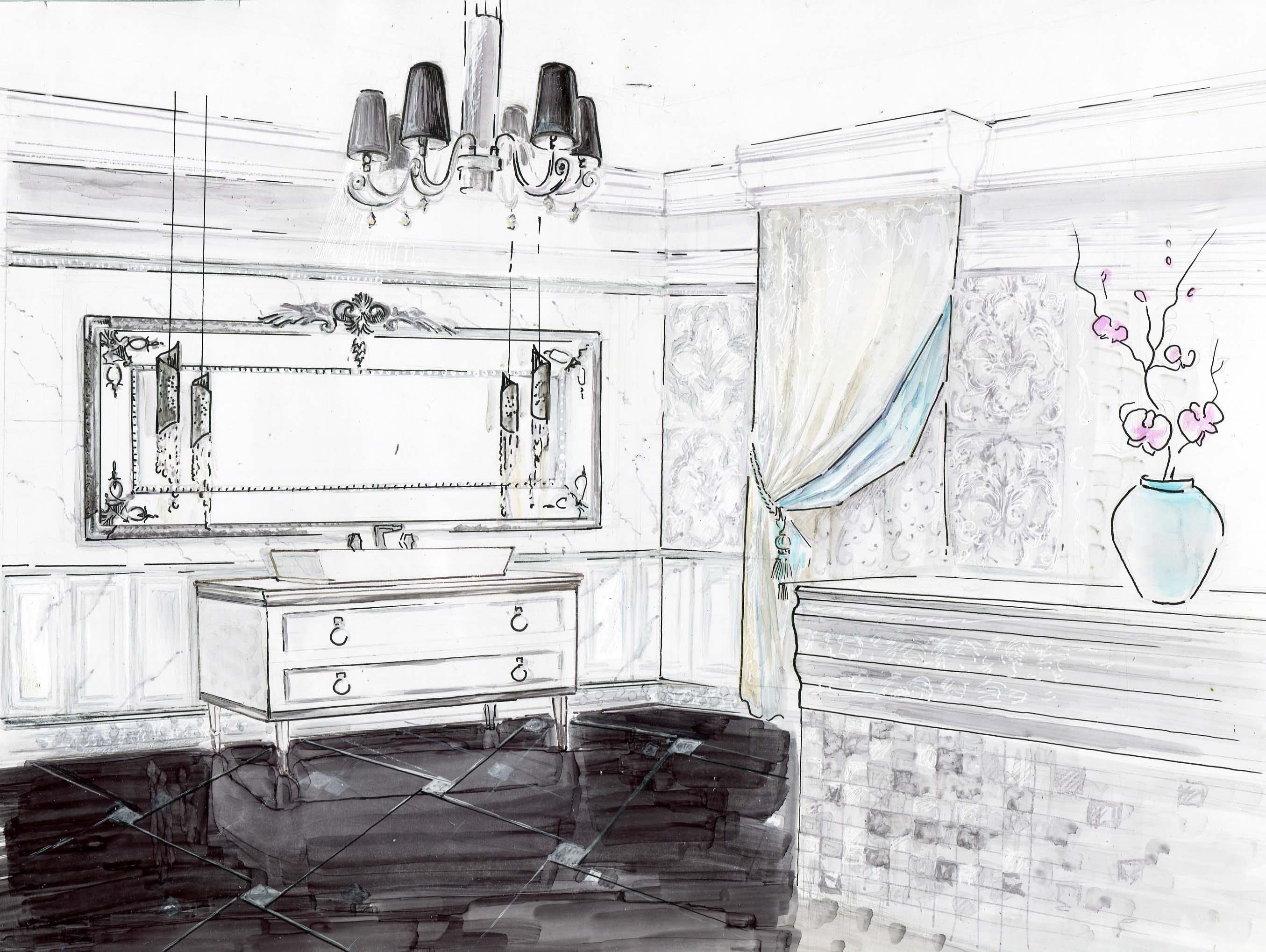 Эскиз ванной комнаты, выполненный в ручной графике
