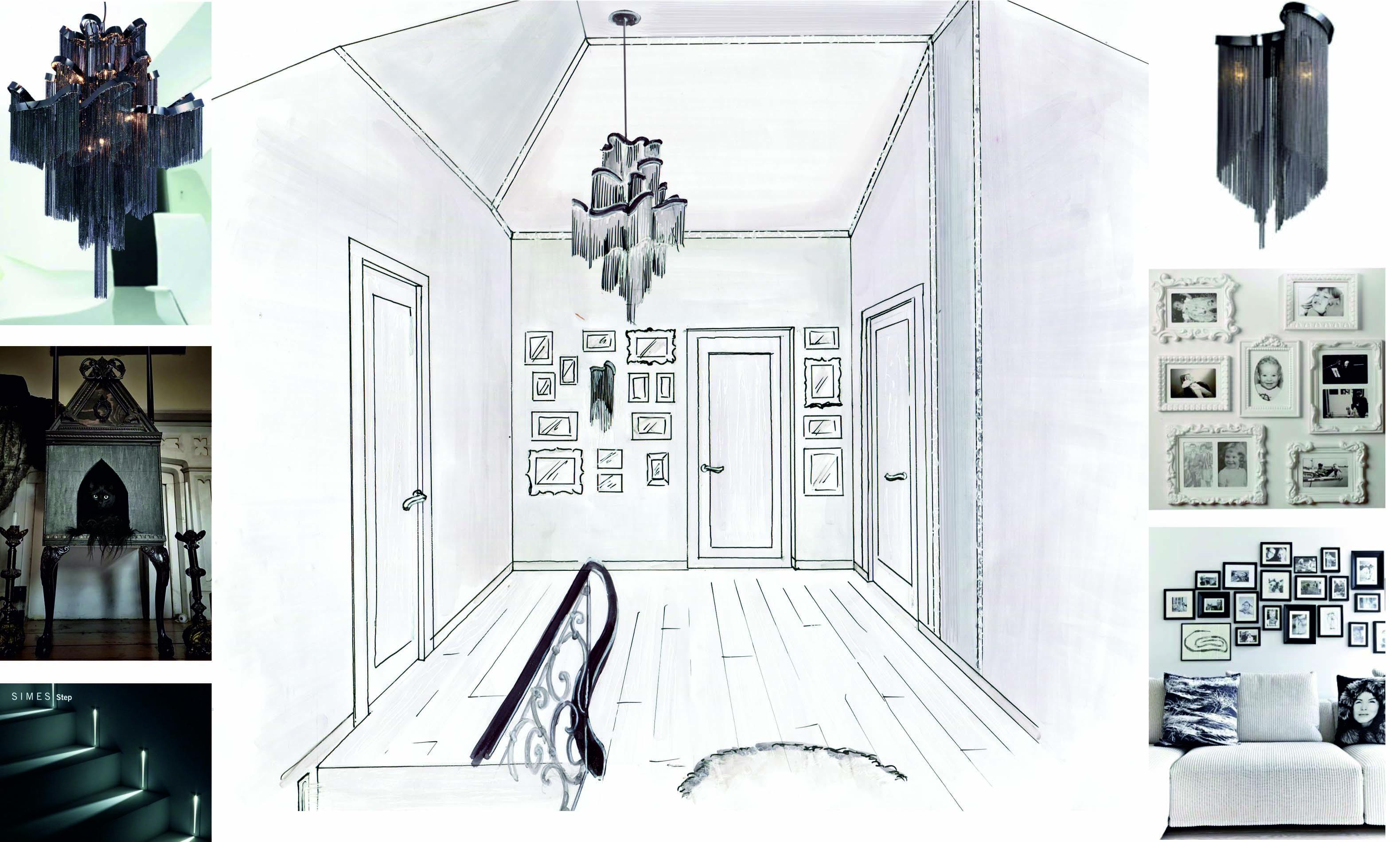 Концепция дизайна интерьера холла с геометрически сложным мансардным потолком