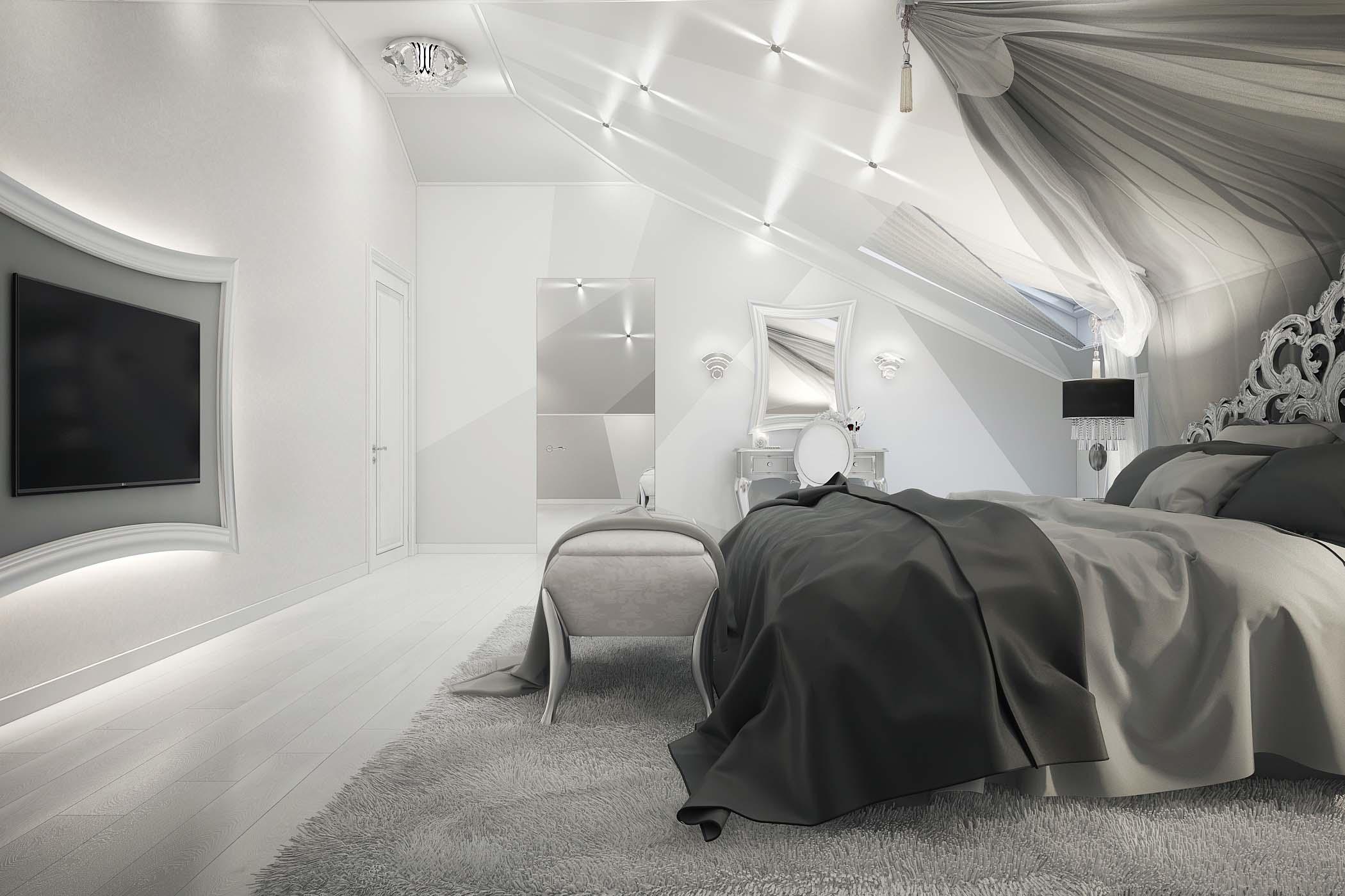 Дизайн интерьера спальни в снежно-белых тонах