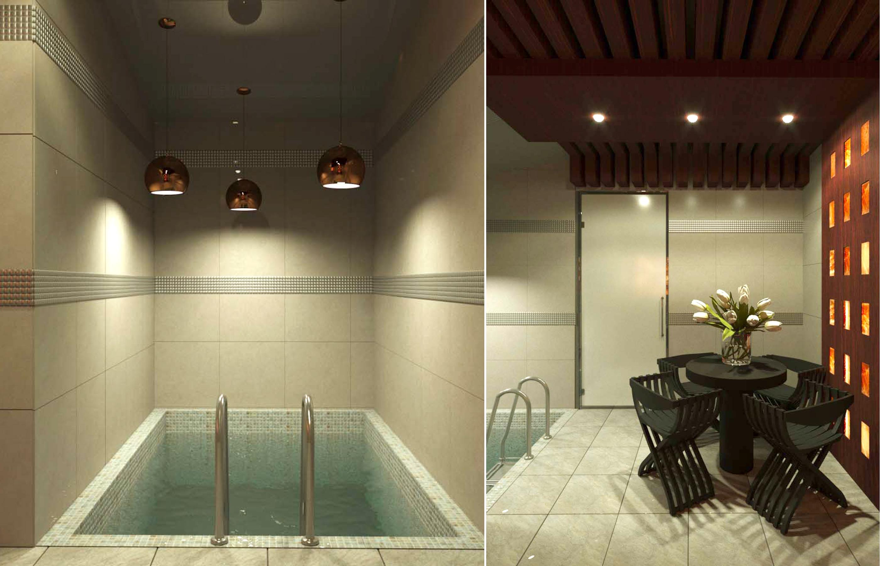 Дизайн интерьера банного комплекса с мини бассейном